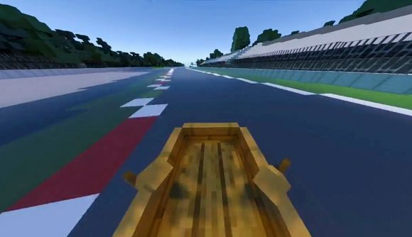 A boat racing through the Monza F1 track in Minecraft