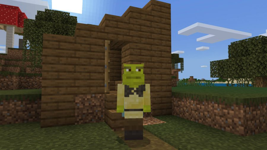 The Minecraft skin version of Shrek is storming out of the hastily built outhouse in a swamp.