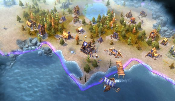a top down view of a coastal viking settlement in northgard