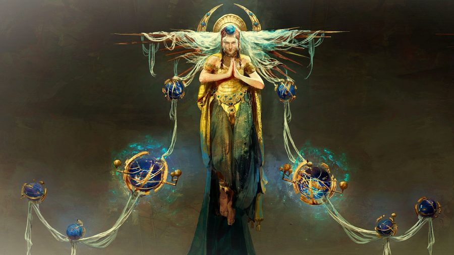 Concept art for The Maven from Path of Exile's Echoes of the Atlas expansion