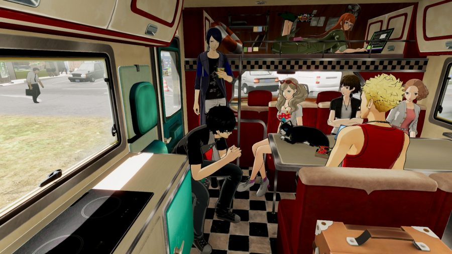 Persona 5 Strikers characters talking during some downtime