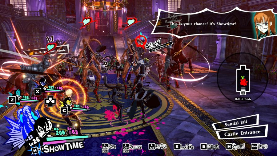 Real-time combat system in action in Persona 5 Strikers
