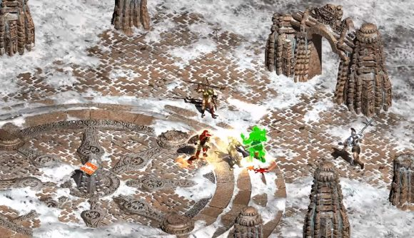 A Project Diablo 2 characters fights a group of skeletons
