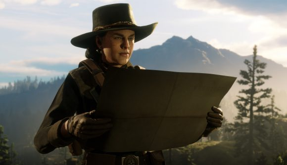 A women looks at her map in Red Dead Online