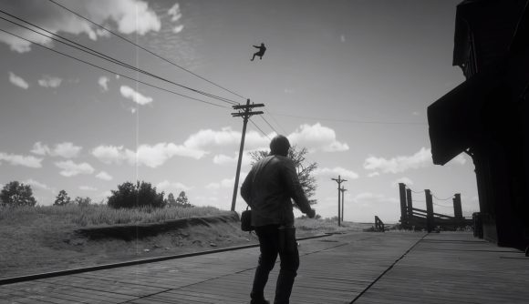A cowboy being punched into orbit in Red Dead Redemption 2