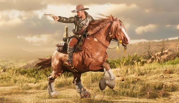 A cowboy on a horse in Red Dead Online shooting back at a foe