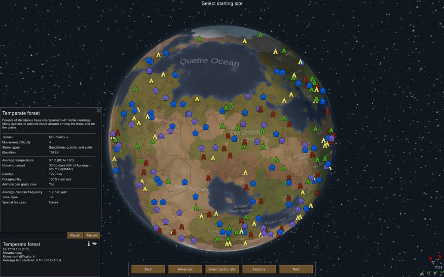 the world map in rimworld, showing the locations of settlements