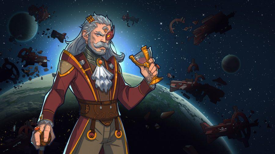 menu artwork from rimworld, a regal looking man holds a golden cup