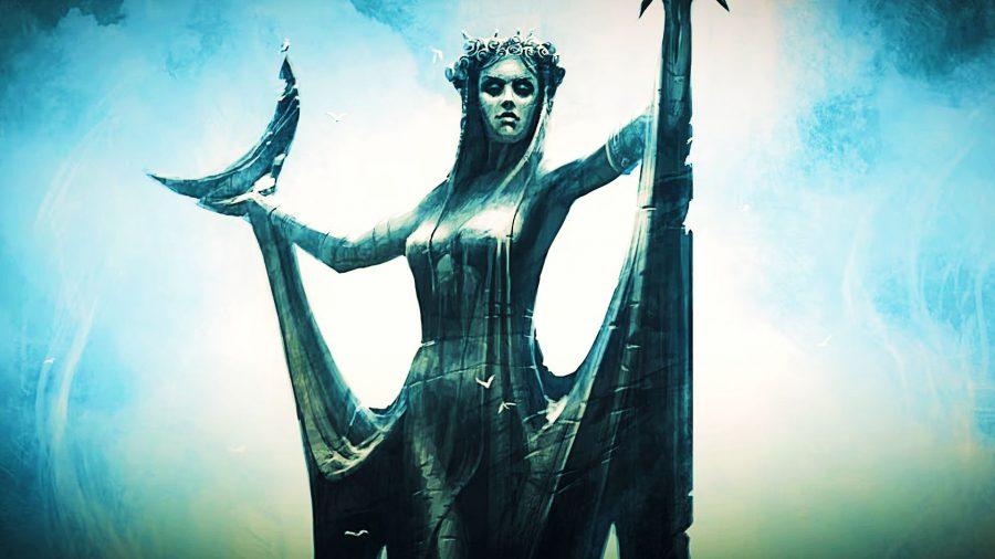 Concept art of the statue of kynareth in Skyrim