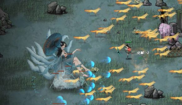 Lady with blue dress and umbrella sits on a cloud with orange foxes dashing all around