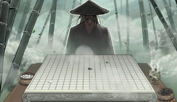 An old man sitting in front of a Chinese chess board