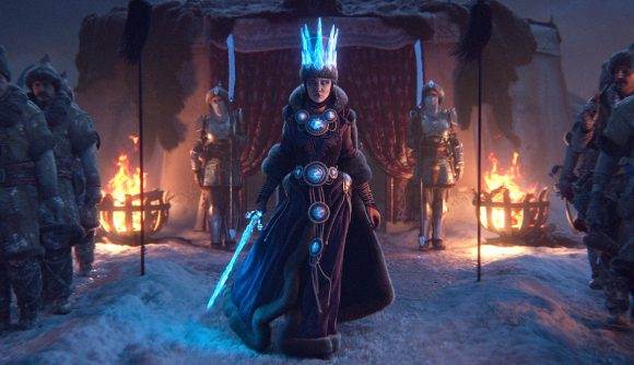 A regal women with an ice crown and ice sword steps out of a tent, from the Warhammer 3 trailer