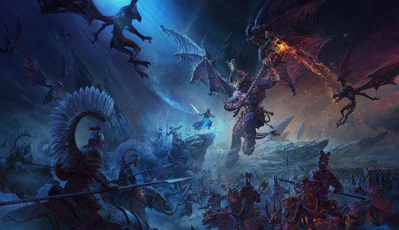 In Total War: Warhammer 3's key art, a Bloodthirster attacks Tsarina Katarin of Kislev surrounded by a daemon army