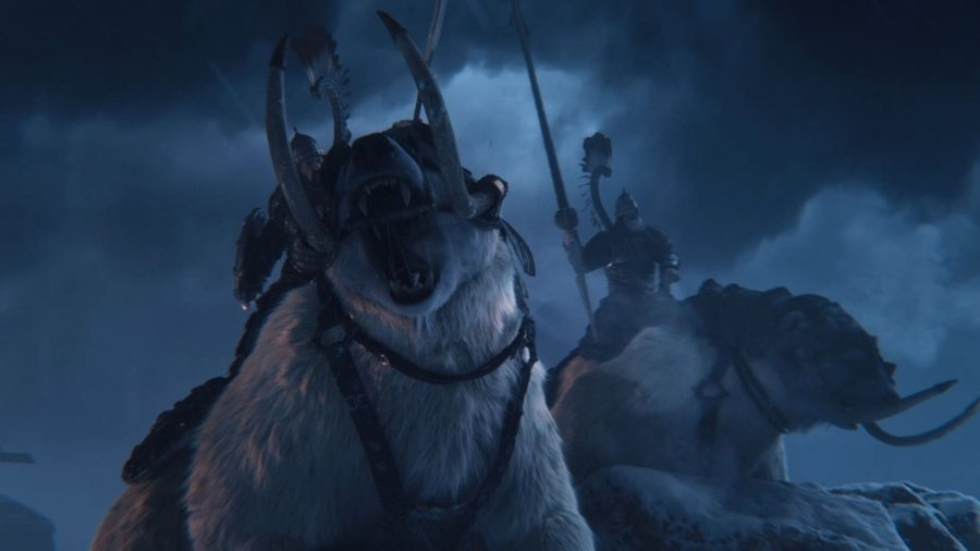 A pair of Kislevite bear cavalrymen roar as they charge into battle in Total War: Warhammer 3