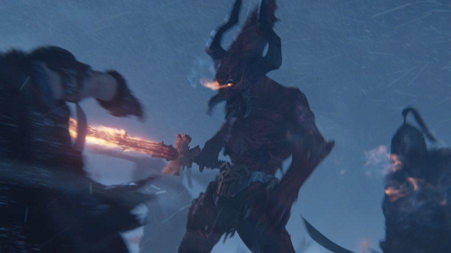A Bloodletter, daemon of Khorne, fights Kislevite Kossars in Total War: Warhammer 3