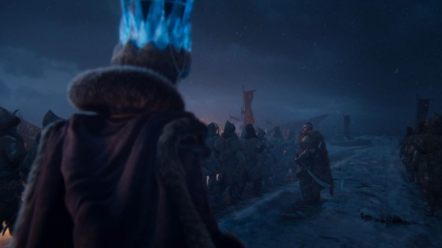 Tsarina Katarin of Kislev marches behind a column of Kislevite Kossars in Total War: Warhammer 3, while a Boyar inspects the troops
