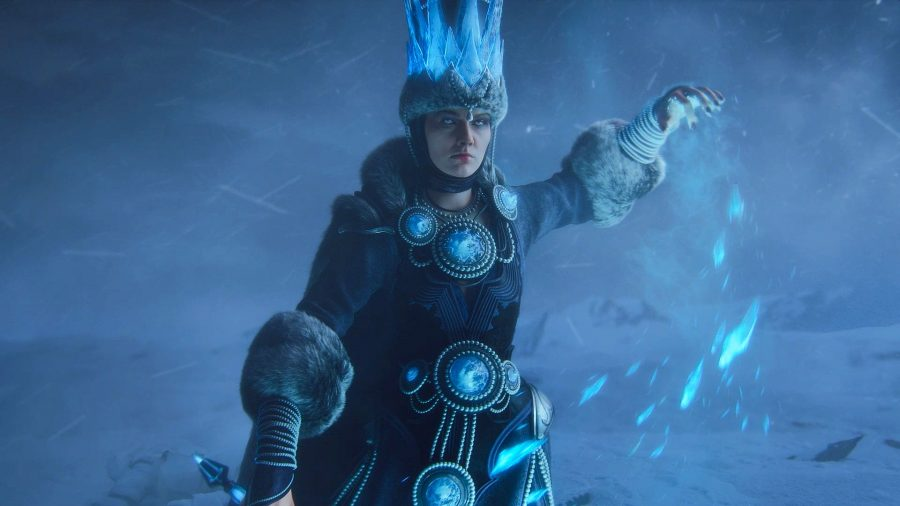 Tsarina Katarin of Kislev prepares to cast an ice spell in Total War: Warhammer 3