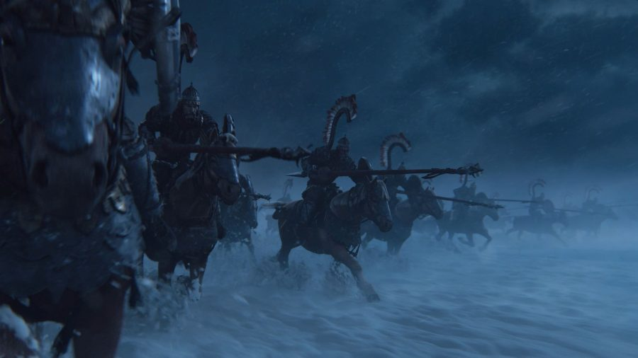 Kislevite Winged Lancers charge at the enemy across a snowy field in Total War: Warhammer 3