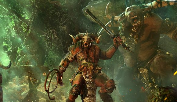 a beastmen leader from Warhammer rallying his men