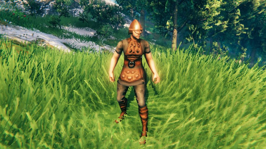 A Viking in Valheim wearing leather armour