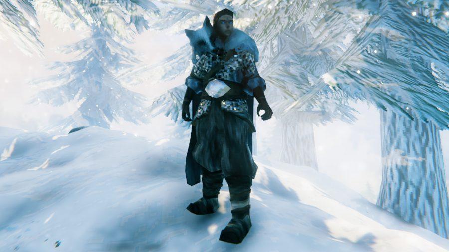 A Viking in Valheim wearing wolf armour