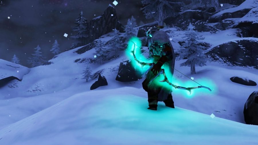 A powerful character in Valheim wielding a glowing bow on top of a snowy mountain