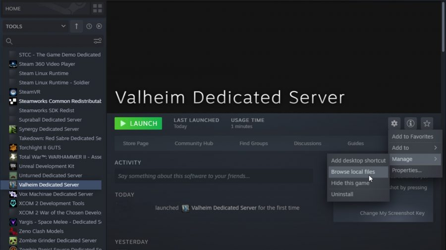 Hovering over 'Browse Local Files' on the Valheim Dedicated Server on Steam