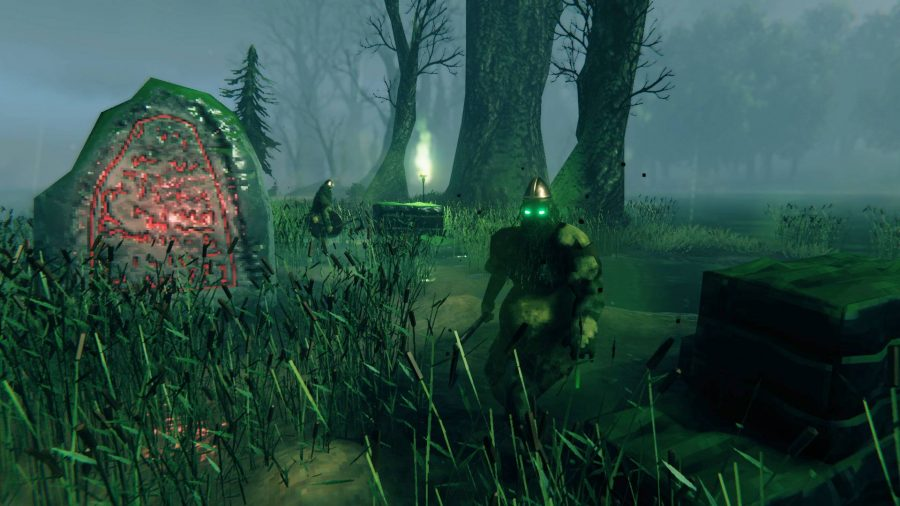 A swamp biome with a runestone and draugr in Valheim