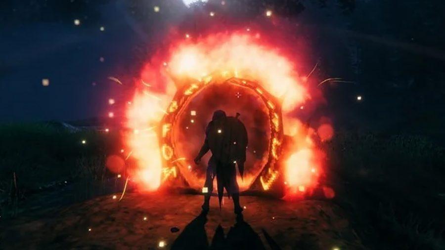 Un portail de nuit à Valheim