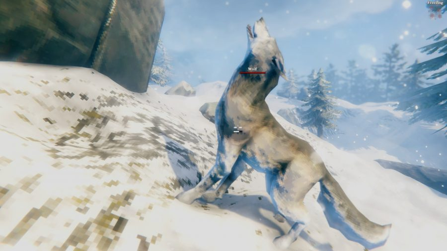 A Valheim wolf standing on a mountain, howling at the sky
