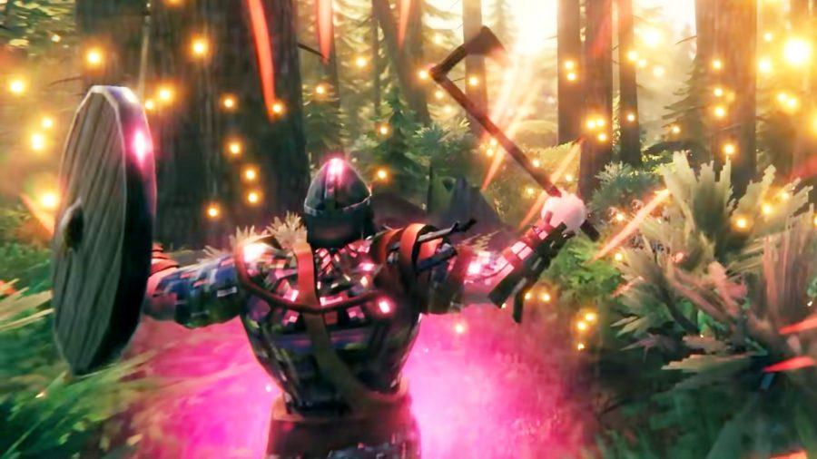 A Valheim warrior raising his axe and shield in the air