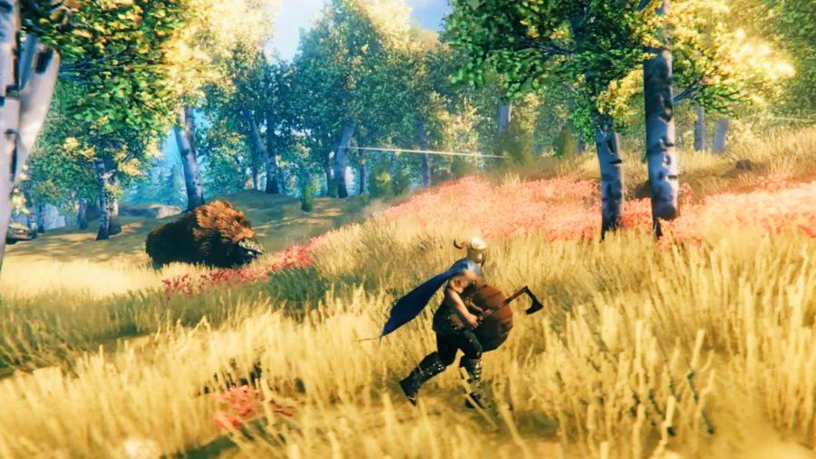 A warrior runs across a field with an ax and a shield in Valheim
