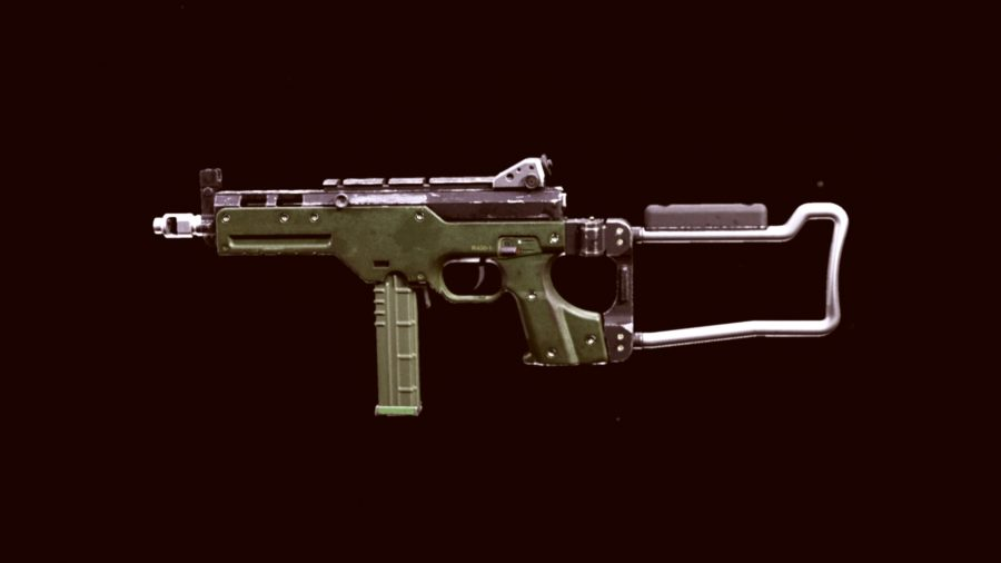 The LC10 gun in Warzone on a black background