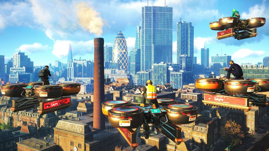 Four players piloting cargo drones in Watch Dogs Legion's multiplayer mode