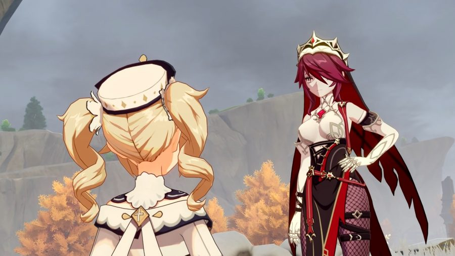Rosaria from Genshin Impact is talking with Barbara