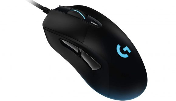 Logitech G403 gaming mouse with a blue LED sitting against a white background