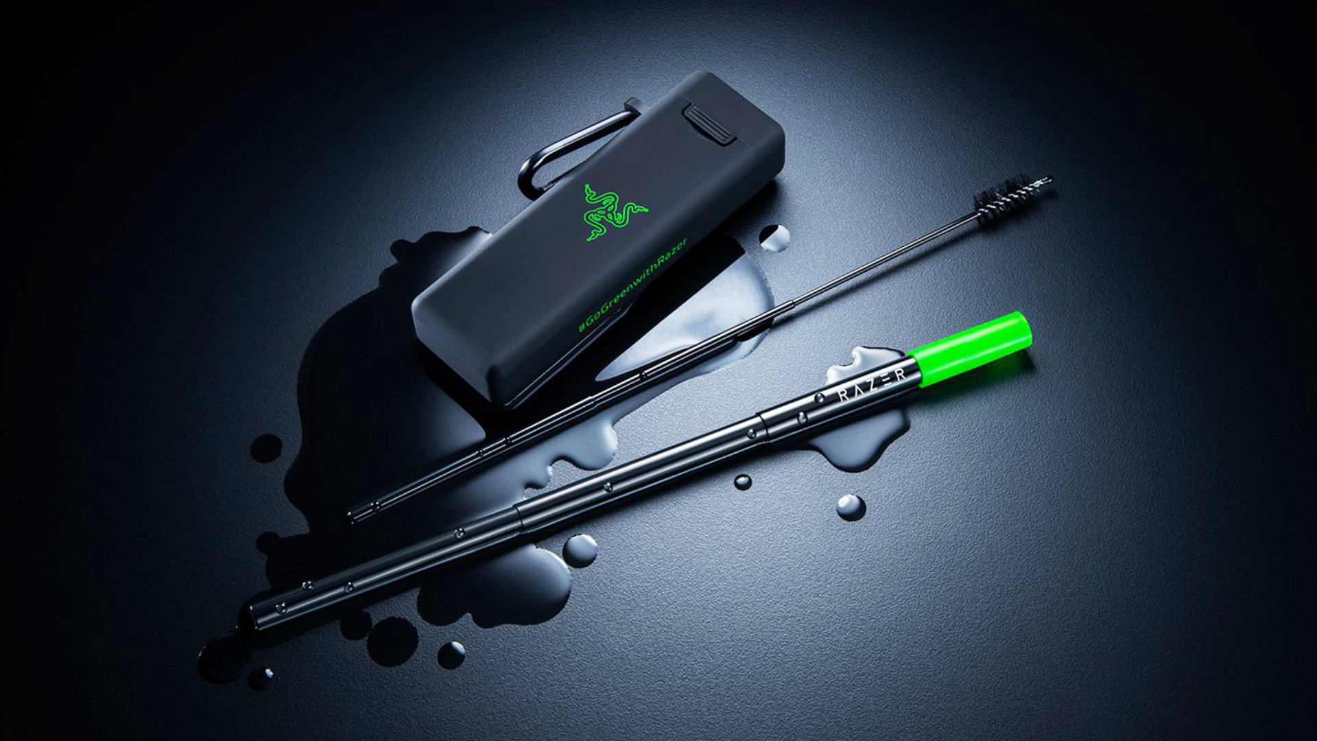 Razer's reusable straw comes with a cleaning kit, but no RGB