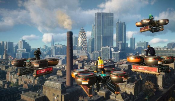 Four Watch dogs LEgions characters, sitting on drones over the London skyline