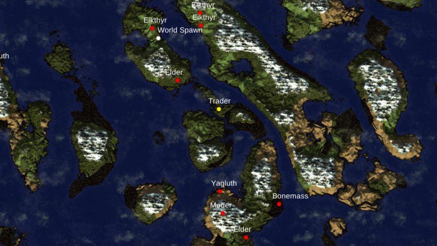 Valheim-kaart met alle hoofden op een lange strook land