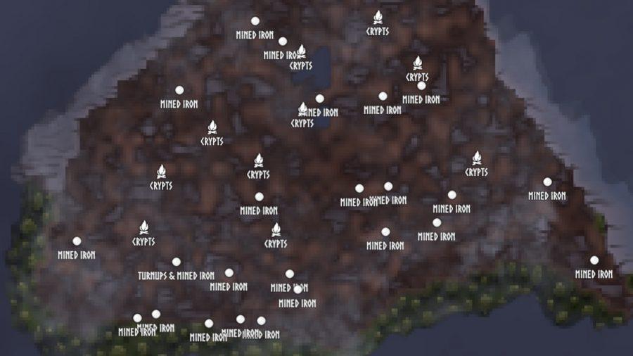 Valhaim-zaad heeft verschillende ijzerplaatsen in het moeras