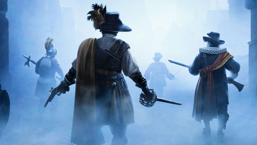 Black Legends heroes walking through fog in the cursed city of Grant