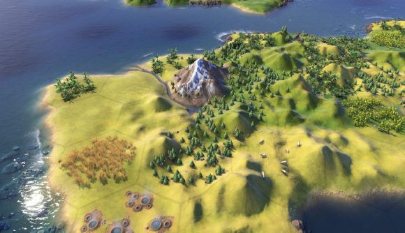 A civ 6 peninsular with more defined hills