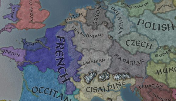 A shot of europe in ck3, looking at the culture map mode