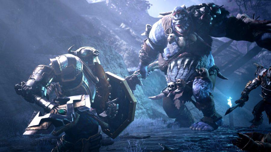 An armoured dwarf faces off against a troll