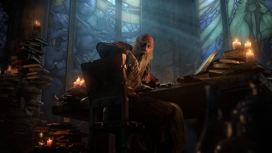 Deckard Cain looking over some books in a chapel in Diablo 3.