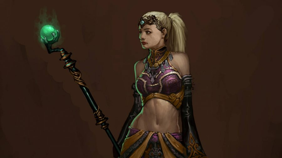 The Enchantress Follower in Diablo 3 has a crew with a bright green ball on top.