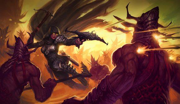 Diablo 3's Demon Hunter shooting some foes