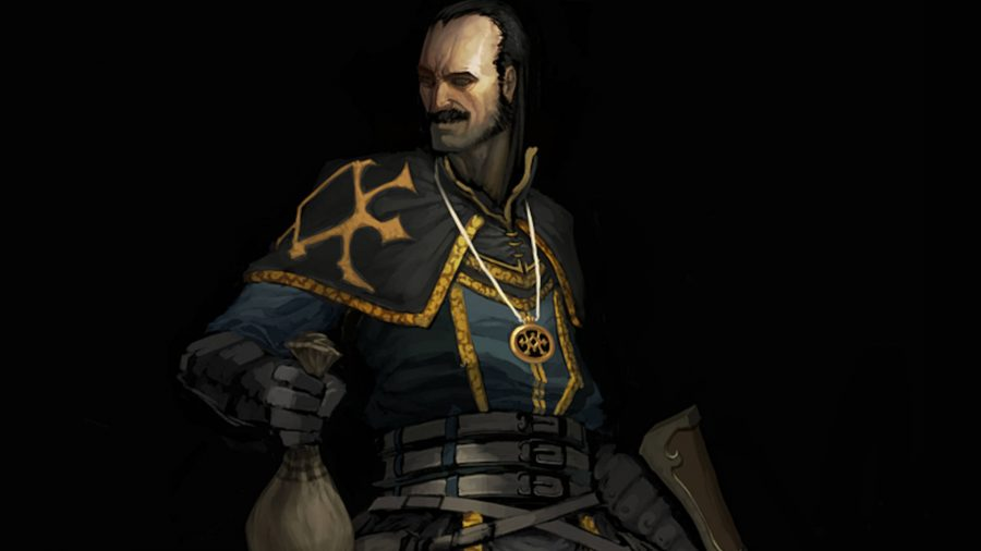 The villain from Diablo 3 holds a bag of money and smiles.