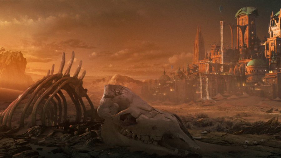 A skeleton lying in the desert outside a big city.