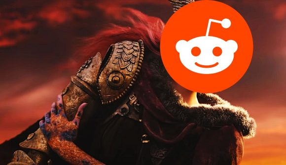 Reddit logo covering a character from Elden Ring